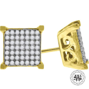 World Shine Earring 10 mm Premium 925 Sterling Silver Icy Yellow Gold Finish Simulated Diamond Square Stud Earring 8/9/10 mm
