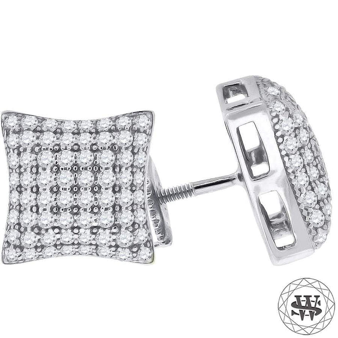 World Shine Earring 10 mm Premium 925 Sterling Silver White Gold Finish Simulated Diamond Curved Earring