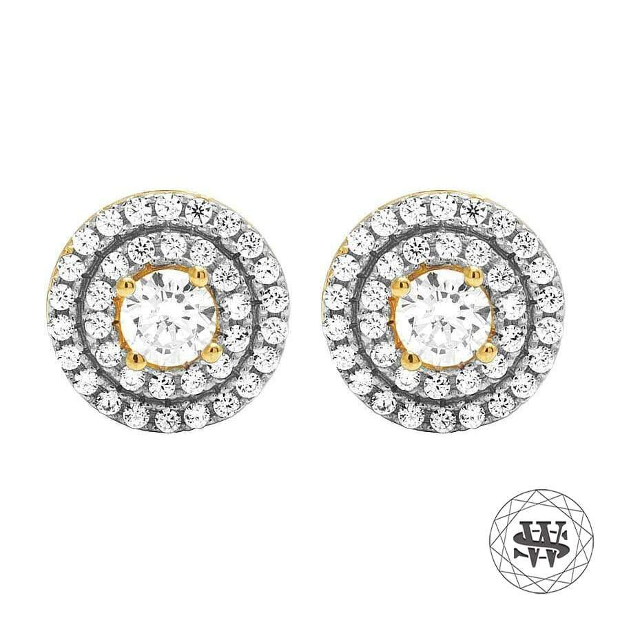 World Shine Earring 10 mm Premium 925 Sterling Silver Yellow Gold Finish Simulated Diamond 3D Royal Earring 10mm