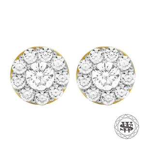 World Shine Earring 10 mm Premium 925 Sterling Silver Yellow Gold Finish Simulated Diamond Extreme Icy 3D Earrings 9/10 mm
