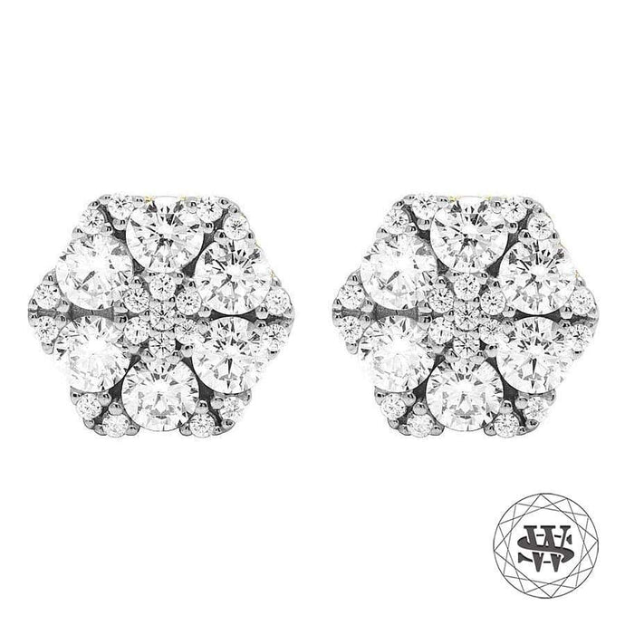 World Shine Earring 10 mm Premium 925 Sterling Silver Yellow Gold Finish Simulated Diamond Hexagone Earring 10mm