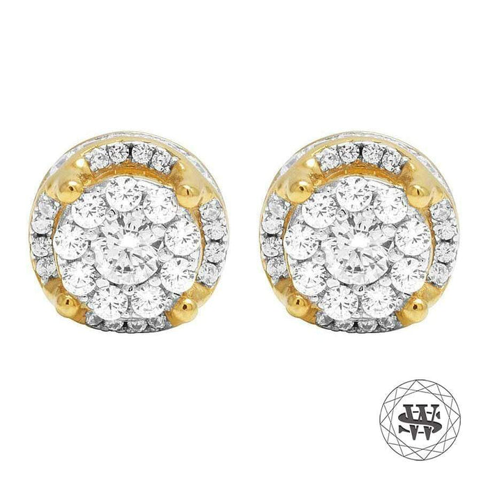 World Shine Earring 10 mm Premium 925 Sterling Silver Yellow Gold Finish Simulated Diamond Hight 3D Earring 8/10 mm