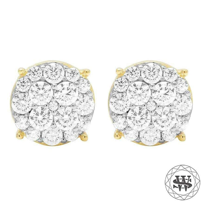 World Shine Earring 10 mm Premium 925 Sterling Silver Yellow Gold Finish Simulated Diamond VIP Earrings 9/10 mm