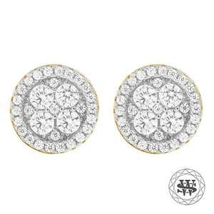 World Shine Earring 10 mm Premium 925 Sterling Silver Yellow Gold Finish Simulated Hight Clarity Diamond Earrings 9/10 mm