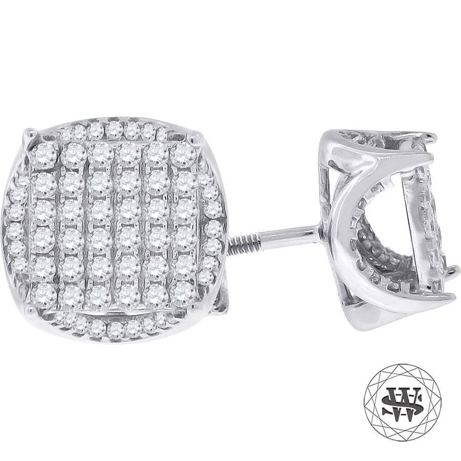 Premium 925 Sterling Silver White Gold Finish Simulated Diamond Icy Round  Earrings