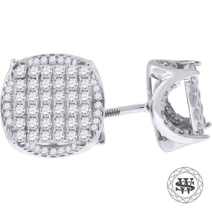 World Shine Earring 11 mm Premium 925 Sterling Silver White Gold Finish Simulated Diamond Icy Round Earrings
