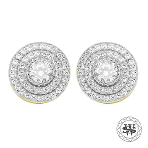 World Shine Earring 11 mm Premium 925 Sterling Silver Yellow Gold Finish Lab Diamond Halo Cluster Studs Earring 11mm