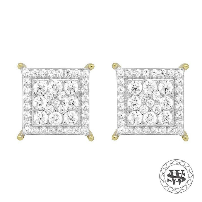 World Shine Earring 11 mm Premium 925 Sterling Silver Yellow Gold Finish Lab Diamond Square Studs Earrings 11mm