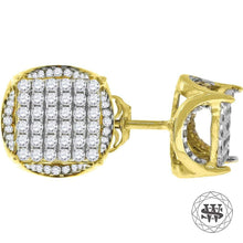 World Shine Earring 11 mm Premium 925 Sterling Silver Yellow Gold Finish Simulated Diamond Icy Round Earrings 7/8/11 mm
