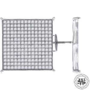 World Shine Earring 18 mm Premium 925 Sterling Silver White Finish Simulated Diamond Giant Icy Square Earrings 15/17/18/20 mm