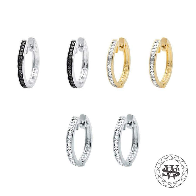 World Shine Earring 20 mm / 3 mm Premium Exclusive Pack of 3 Pairs With Real Genuine Diamond Hoop Earrings 20mm 0.10ct
