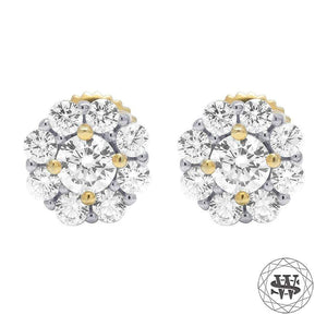 World Shine Earring 5 mm Premium 925 Sterling Silver Yellow Gold Finish Simulated Diamond 3D Prong Cluster Earrings 5mm
