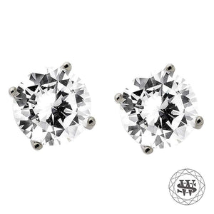 World Shine Earring 5 mm Premium Clarity 925 Sterling Silver White Gold Finish Simulated Diamond Stud Earring 5/7/8.5 mm