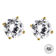 World Shine Earring 5 mm Premium Clarity 925 Sterling Silver Yellow Gold Finish Simulated Diamond Stud Earring 5/7/8.5 mm