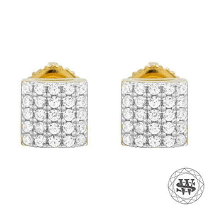 World Shine Earring 6 mm Premium 925 Sterling Silver Yellow Gold Finish Simulated Diamond Dome Square Earrings 6/9 mm