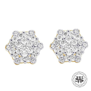 World Shine Earring 6 mm Premium 925 Sterling Silver Yellow Gold Finish Simulated Diamond Geometric Earrings 6mm