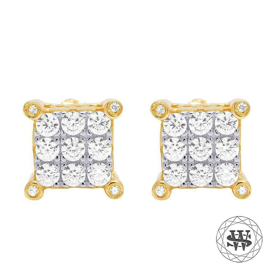 World Shine Earring 6 mm Premium 925 Sterling Silver Yellow Gold Finish Simulated Diamond Iced Prong Earrings 6mm