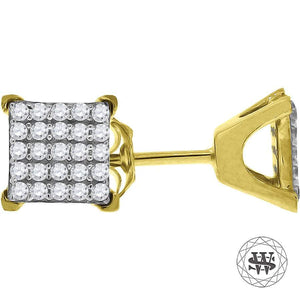 World Shine Earring 6 mm Premium 925 Sterling Silver Yellow Gold Finish Simulated Diamond Square Stud Earrings 6/8/9 mm