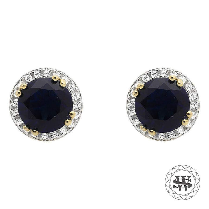 World Shine Earring 7.5 mm Premium 925 Sterling Silver Yellow Gold Finish Halo Royal Blue Sapphire Simulated Diamond Earrings 7.5mm