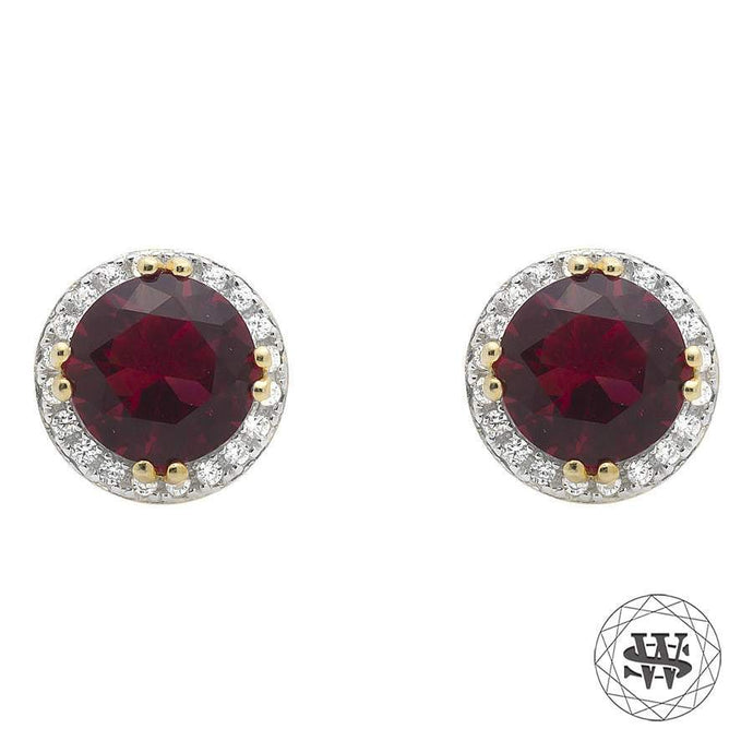 World Shine Earring 7.5 mm Premium 925 Sterling Silver Yellow Gold Finish Halo Royal Ruby Gemstone Simulated Diamond Earrings 7.5mm
