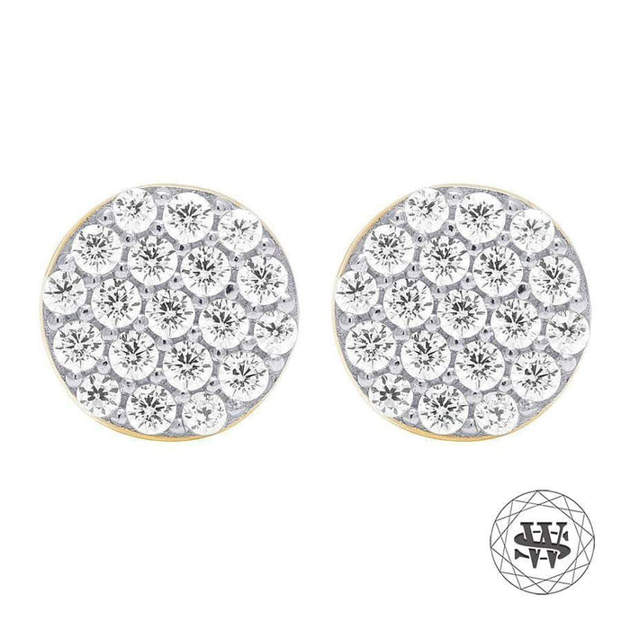 World Shine Earring 7 mm Premium 925 Sterling Silver Yellow Gold Finish Simulated Diamond Iced Round Earrings 7mm