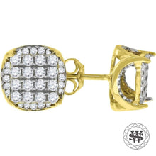 World Shine Earring 7 mm Premium 925 Sterling Silver Yellow Gold Finish Simulated Diamond Icy Round Earrings 7/8/11 mm