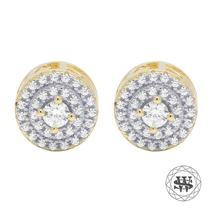 World Shine Earring 7 mm Premium 925 Sterling Silver Yellow Gold Finish Simulated Diamond Solitaire Double Halo Earrings 7mm