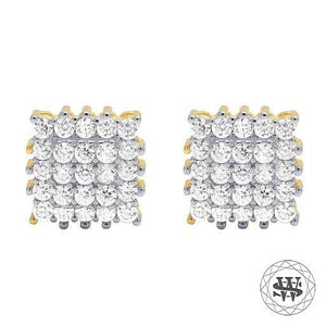 World Shine Earring 7 mm Premium 925 Sterling Silver Yellow Gold Finish Simulated Diamond Square Prong Cluster Earrings 7mm