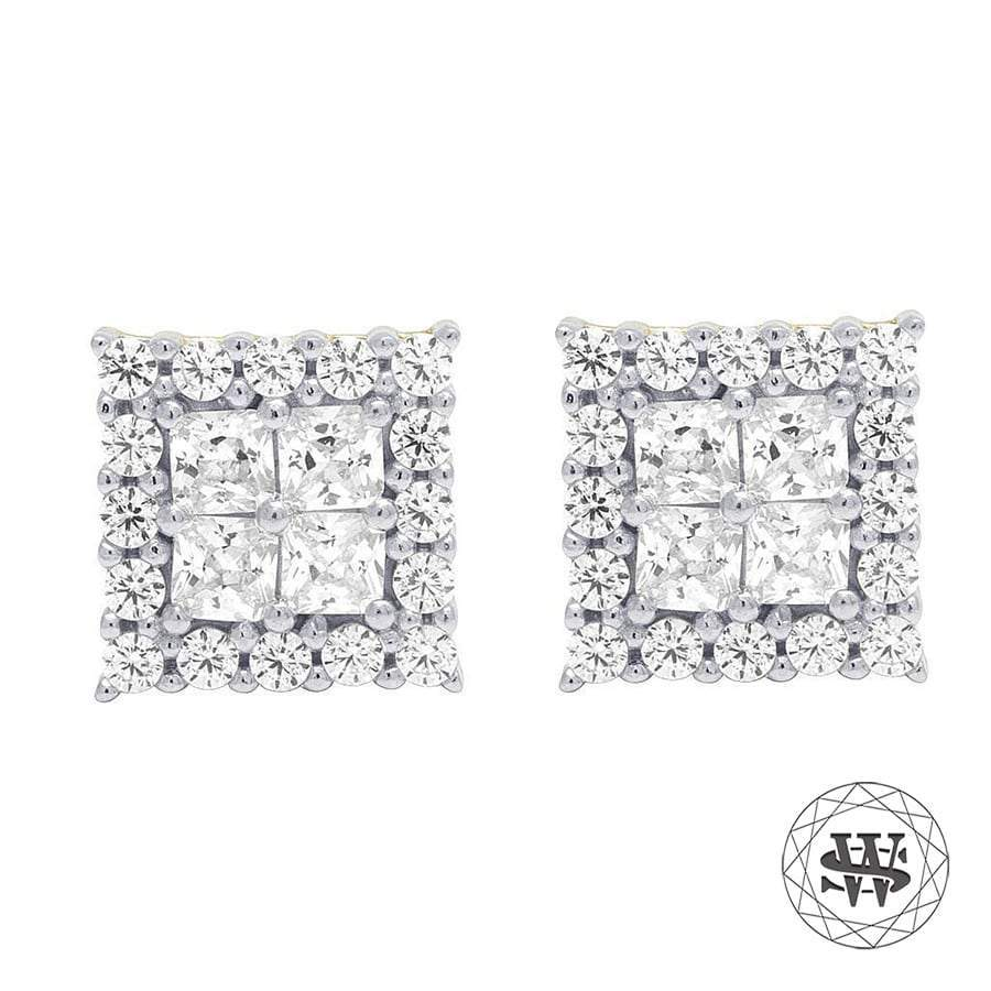 World Shine Earring 7 mm Premium 925 Sterling Silver Yellow Gold Finish Simulated Diamond Square Shine Earrings 7mm