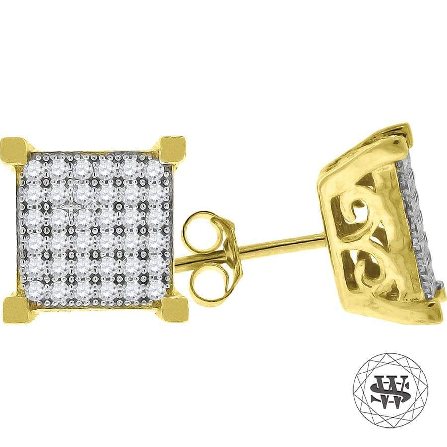 World Shine Earring 8 mm Premium 925 Sterling Silver Icy Yellow Gold Finish Simulated Diamond Square Stud Earring 8/9/10 mm