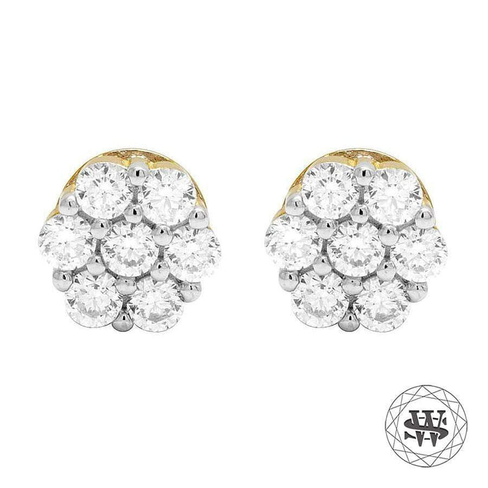 World Shine Earring 8 mm Premium 925 Sterling Silver Yellow Gold Finish Simulated Big 3D Diamond Earrings 8mm
