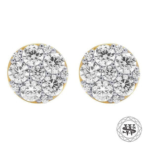 World Shine Earring 8 mm Premium 925 Sterling Silver Yellow Gold Finish Simulated Diamond Constellation Earrings 8mm