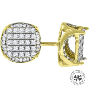 World Shine Earring 8 mm Premium 925 Sterling Silver Yellow Gold Finish Simulated Diamond Icy Round Earrings 7/8/11 mm