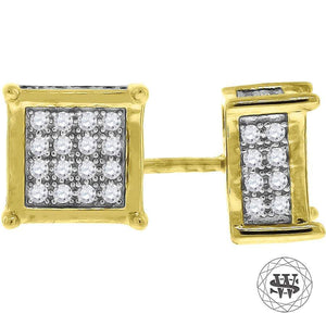 World Shine Earring 8 mm Premium 925 Sterling Silver Yellow Gold Finish Simulated Diamond Icy Square Earrings 6/7/8 mm