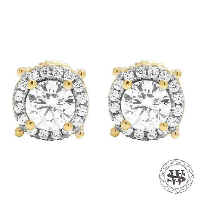 World Shine Earring 8 mm Premium 925 Sterling Silver Yellow Gold Finish Simulated Diamond Large Solitaire Earrings 8mm