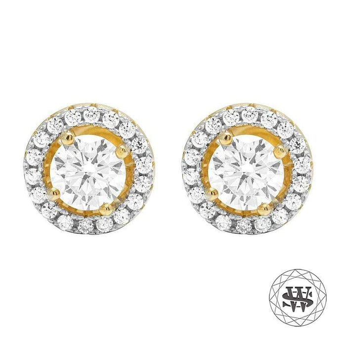World Shine Earring 8 mm Premium 925 Sterling Silver Yellow Gold Finish Simulated Diamond Medium Solitaire Earrings 8mm