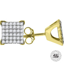 World Shine Earring 8 mm Premium 925 Sterling Silver Yellow Gold Finish Simulated Diamond Square Stud Earrings 6/8/9 mm