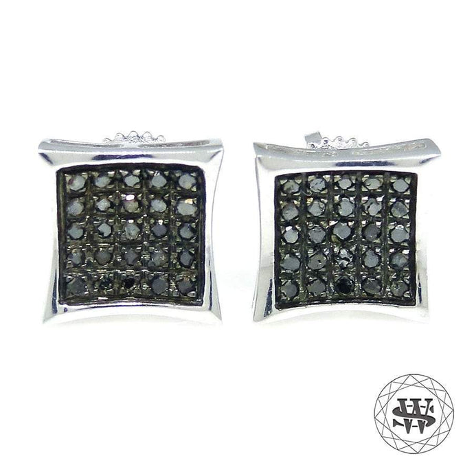 World Shine Earring 8 mm Premium Exclusive 925 Sterling Silver White Gold Finish With Real Black Diamond Earrings 8 mm