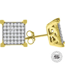 World Shine Earring 9 mm Premium 925 Sterling Silver Icy Yellow Gold Finish Simulated Diamond Square Stud Earring 8/9/10 mm
