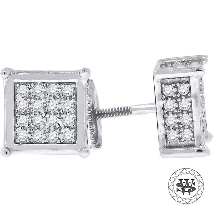 World Shine Earring 9 mm Premium 925 Sterling Silver White Gold Finish Simulated Diamond Icy Square Earrings 7/9 mm