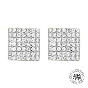 World Shine Earring 9 mm Premium 925 Sterling Silver Yellow Gold Finish Simulated Diamond Dome Square Earrings 6/9 mm