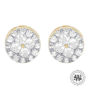 World Shine Earring 9 mm Premium 925 Sterling Silver Yellow Gold Finish Simulated Diamond Round Cluster Earring 9mm