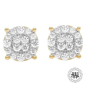 World Shine Earring 9 mm Premium 925 Sterling Silver Yellow Gold Finish Simulated Diamond Round Cluster Earrings 9mm