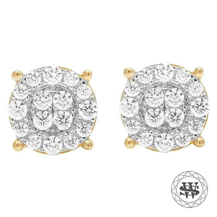 Yellow Gold Over Sterling Silver Simulated Diamond Rounded Cluster Earrings 11mm