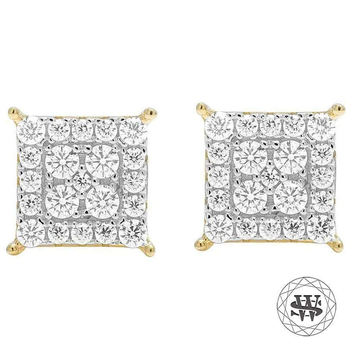 World Shine Earring 9 mm Premium 925 Sterling Silver Yellow Gold Finish Simulated Diamond Square Cluster Earrings 9mm