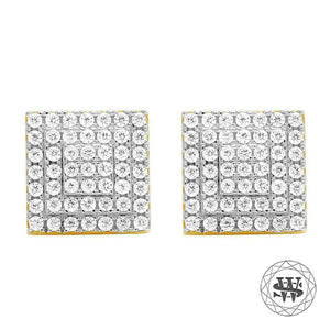 World Shine Earring 9 mm Premium 925 Sterling Silver Yellow Gold Finish Simulated Diamond Square Earrings 8/9 mm
