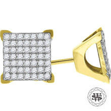 World Shine Earring 9 mm Premium 925 Sterling Silver Yellow Gold Finish Simulated Diamond Square Stud Earrings 6/8/9 mm