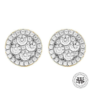 World Shine Earring 9 mm Premium 925 Sterling Silver Yellow Gold Finish Simulated Hight Clarity Diamond Earrings 9/10 mm