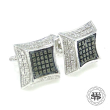 World Shine Earring 9 mm Premium Exclusive 925 Sterling Silver White Gold Finish With Real Black/White Diamond Earrings 9mm
