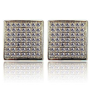 World Shine Earring Default Title Iced Out Square Stud Earrings Gold 10x10mm